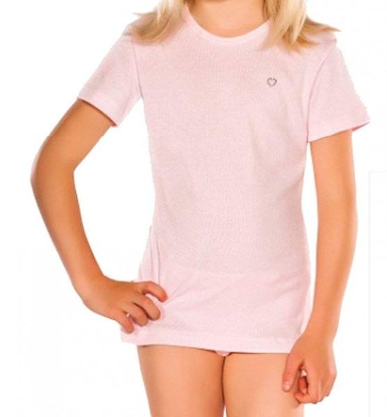 PLEAS Mädchen Unterhemd 1/2 Arm in rosa, Halbarmshirt für Mädchen