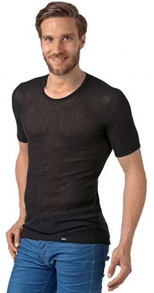 PLEAS Netzhemd für Herren, Netzshirt mit halbem Arm in schwarz