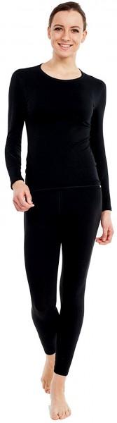 Pleas Thermo Unterwäsche Set für Damen lang - Damen Thermo Funktionswäsche Skiunterwäsche Set (Shirt