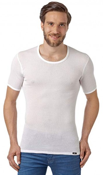 PLEAS Netzhemd für Herren, Netzshirt mit halbem Arm in weiss